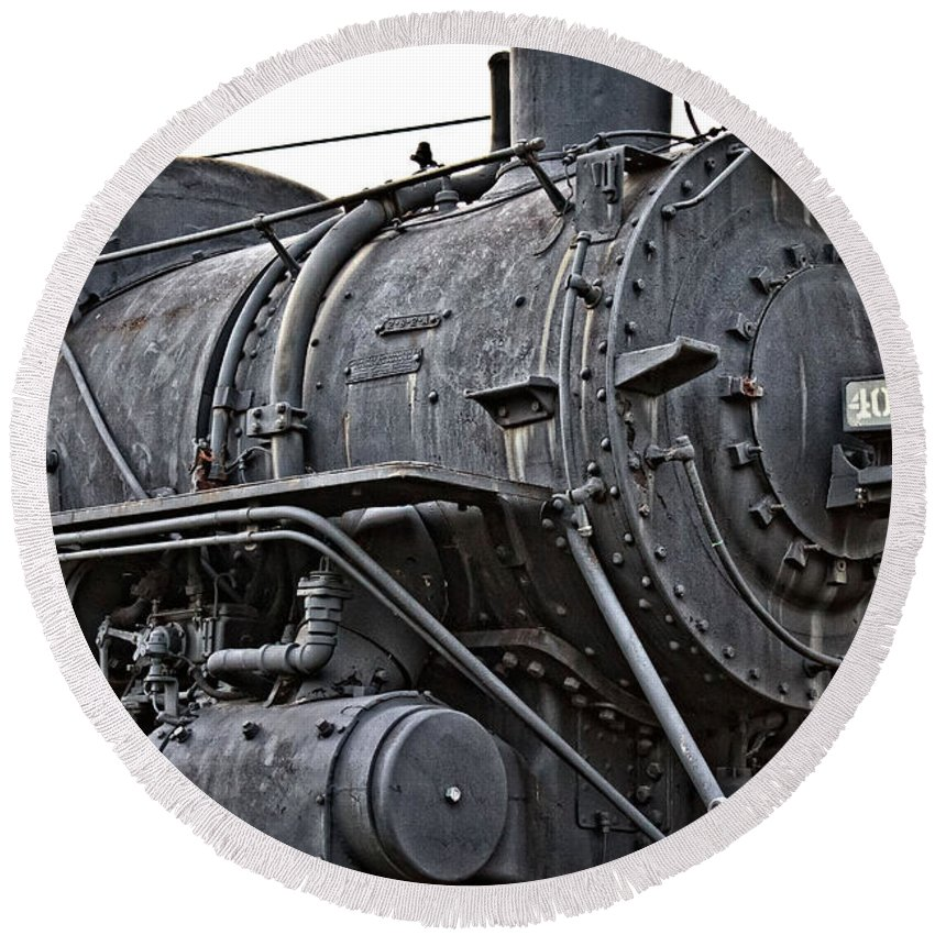 Frisco Round Beach Towel featuring the photograph Frisco Train Locamotive One by Ms Judi
