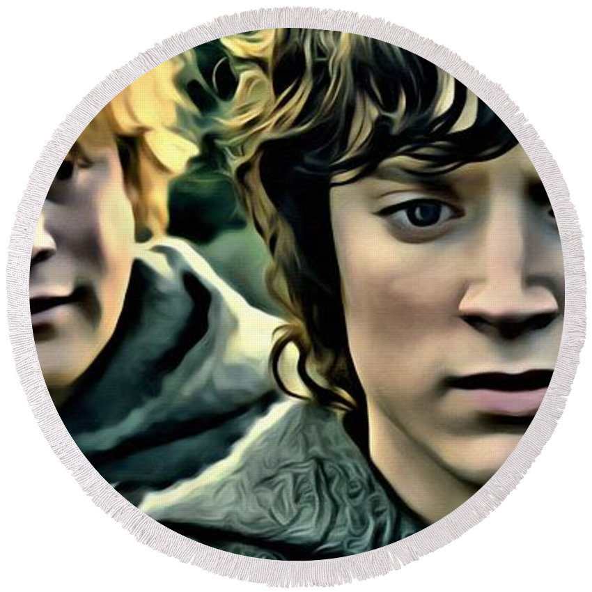 Frodo Baggins Round Beach Towel featuring the painting Frodo And Samwise by Florian Rodarte