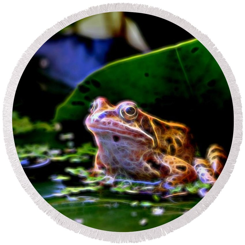 Frog Round Beach Towel featuring the photograph Frog 2 by Ron Harpham