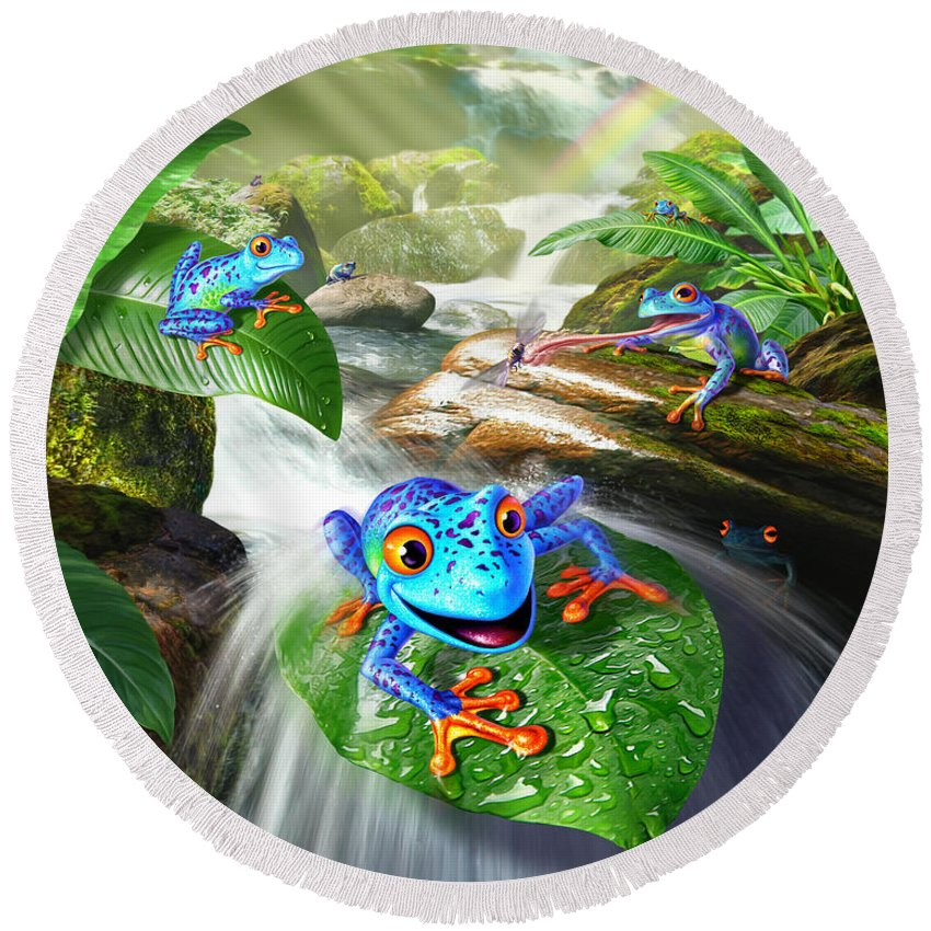 Frogs Round Beach Towel featuring the digital art Frog Capades by Jerry LoFaro