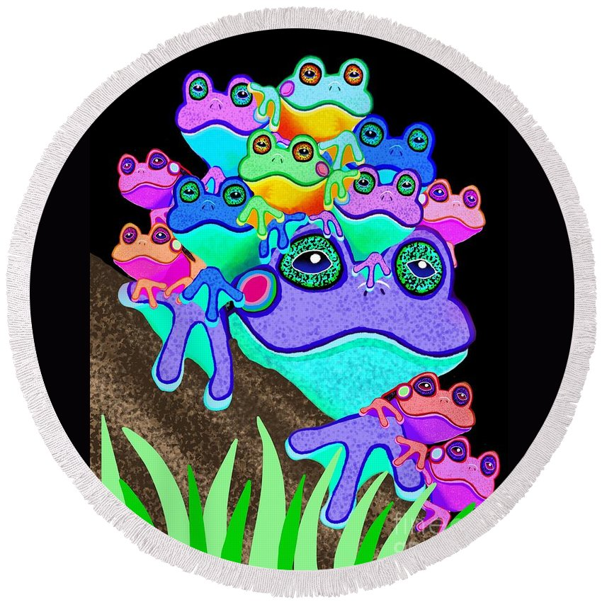 Frogs Round Beach Towel featuring the painting Frog Family Too by Nick Gustafson