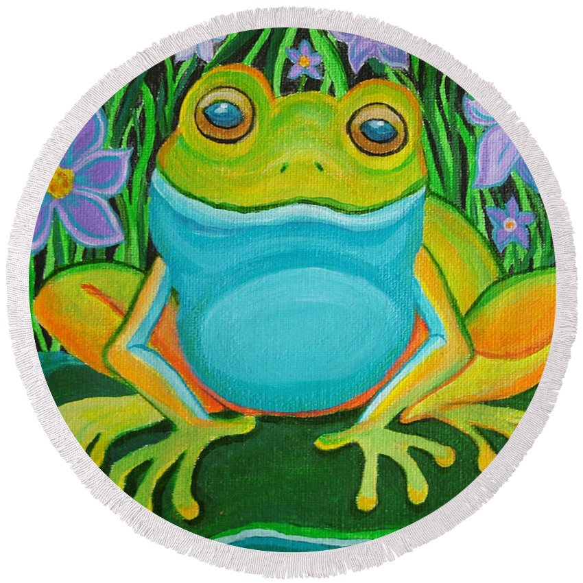 Ffrog Art Round Beach Towel featuring the painting Frog On A Lily Pad by Nick Gustafson