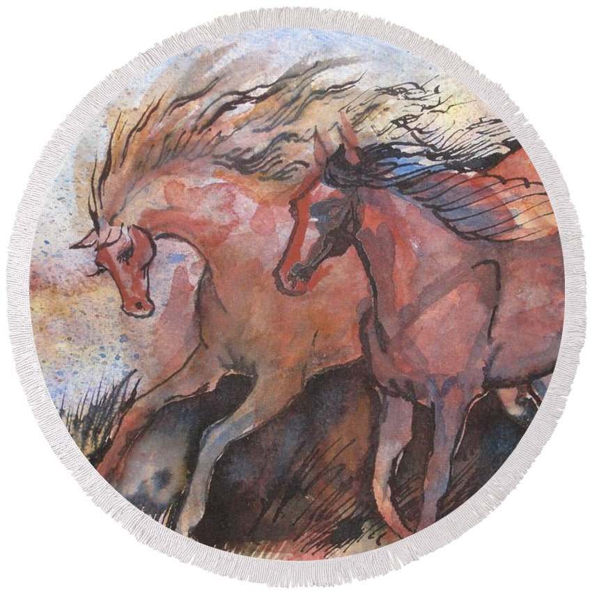 Horses Round Beach Towel featuring the painting Frolicking by Sarah Kovin Snyder