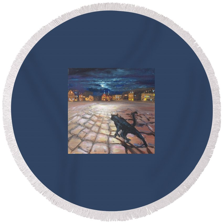 Cat Round Beach Towel featuring the painting From Life Of Cats by Elena Sokolova