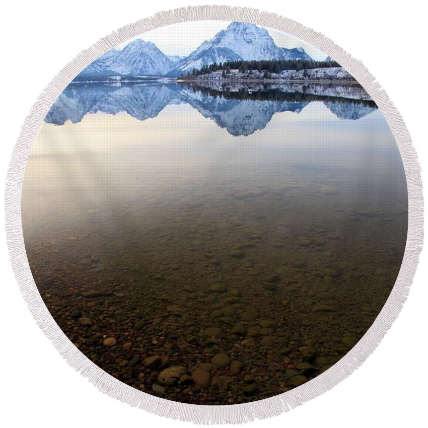 Grand Teton National Park Round Beach Towel featuring the photograph From Pebbles To Mountains by Adam Jewell