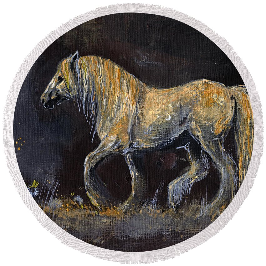 Shire Horse Round Beach Towel featuring the painting From The Darkness by Angel Ciesniarska