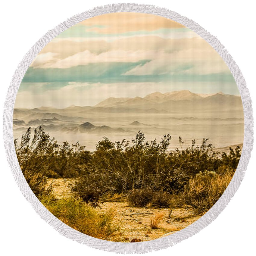 Joshua Tree National Park Round Beach Towel featuring the photograph From Top Of The Mountain At Joshua Tree National Park by Bob and Nadine Johnston