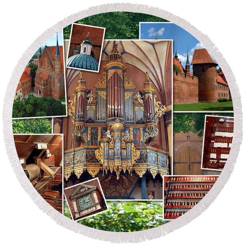 Frombork Round Beach Towel featuring the photograph Frombork Montage by Jenny Setchell