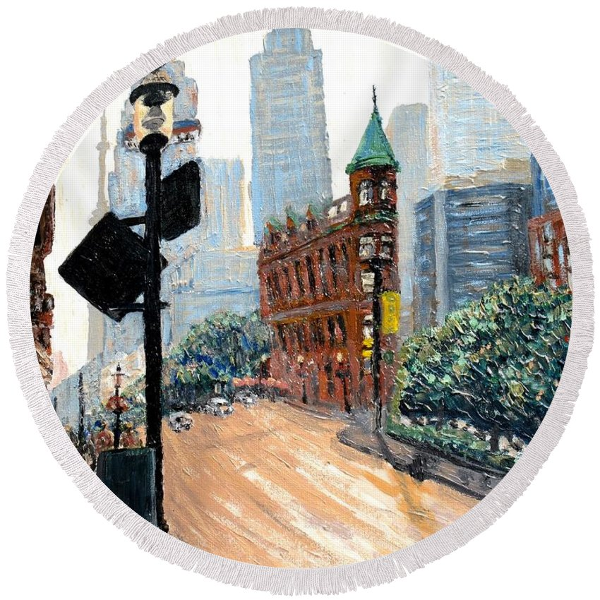 Toronto Round Beach Towel featuring the painting Front And Church by Ian MacDonald
