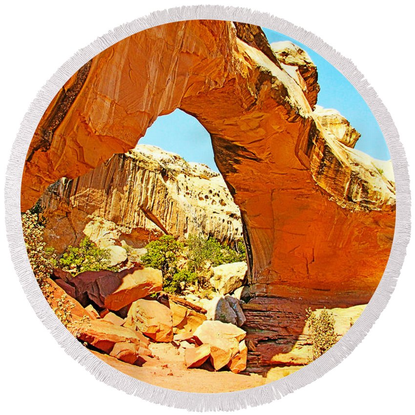 Front Of Hickman Bridge In Capitol Reef National Park Round Beach Towel featuring the photograph Front Of Hickman Bridge In Capitol Reef National Park-utah by Ruth Hager