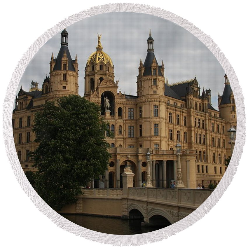 Schwerin Round Beach Towel featuring the photograph Front View Of Palace Schwerin by Christiane Schulze Art And Photography