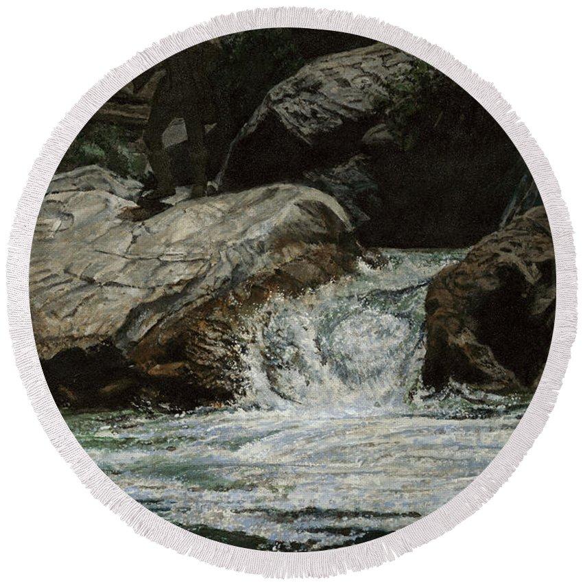 Frontiersman Round Beach Towel featuring the painting Arizona Frontiersman Rocks by Don Langeneckert
