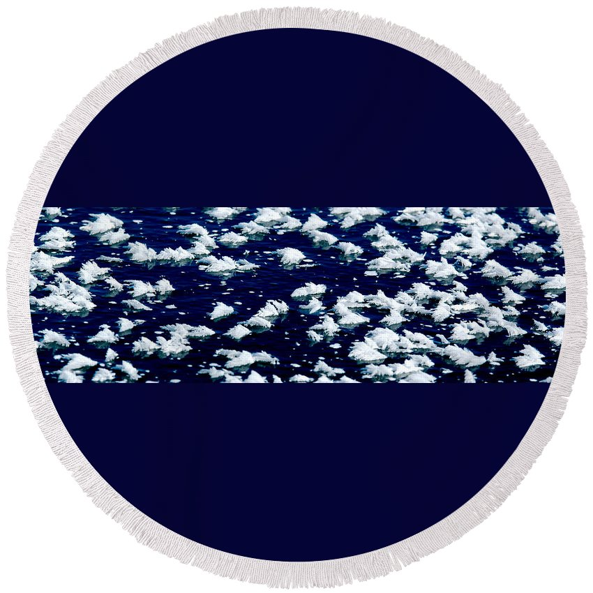 Frost Round Beach Towel featuring the photograph Frost Flakes On Ice - 05 by Larry Jost