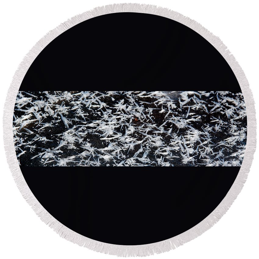 Frost Round Beach Towel featuring the photograph Frost Flakes On Ice - 07 by Larry Jost