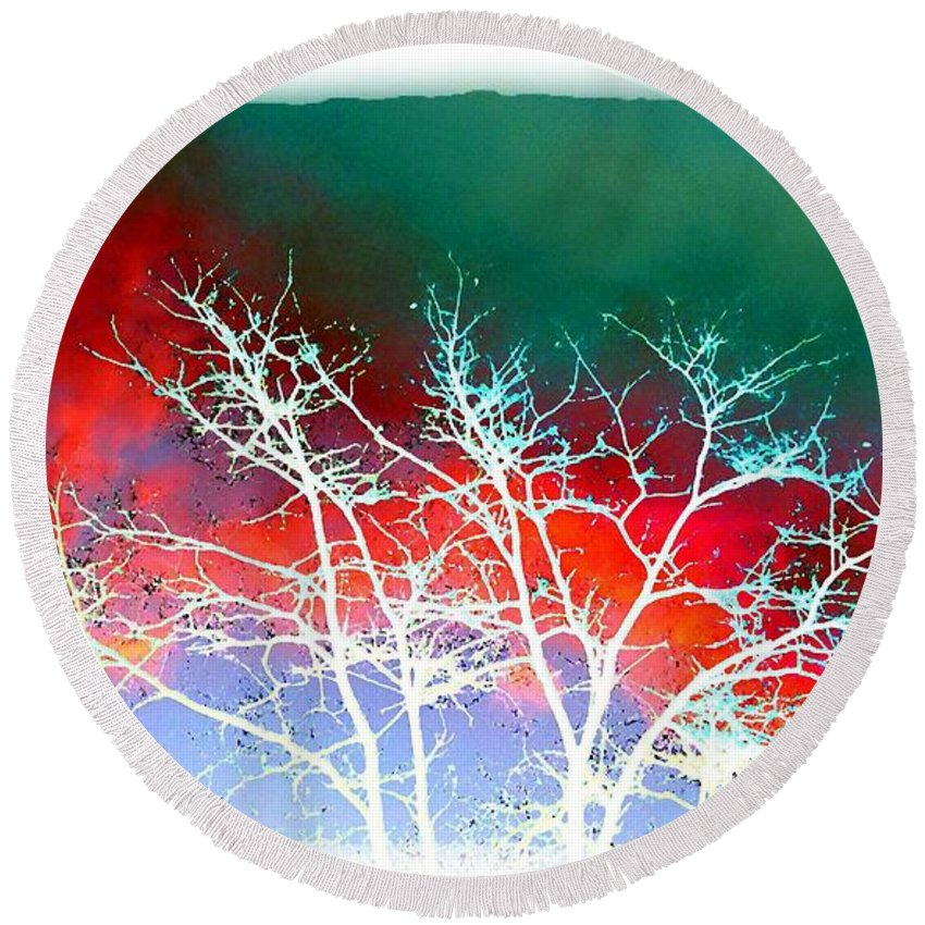 Frost Shrouded Tree Round Beach Towel featuring the digital art Frost Shrouded Tree by Will Borden