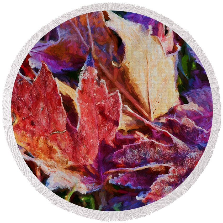Leaves Round Beach Towel featuring the photograph Frosted Leaves #2 - Painted by Nikolyn McDonald