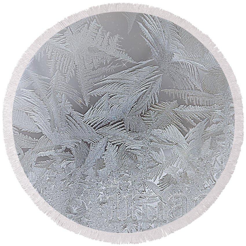 Imagine Round Beach Towel featuring the digital art Frosty Dreams by Lisa Knechtel
