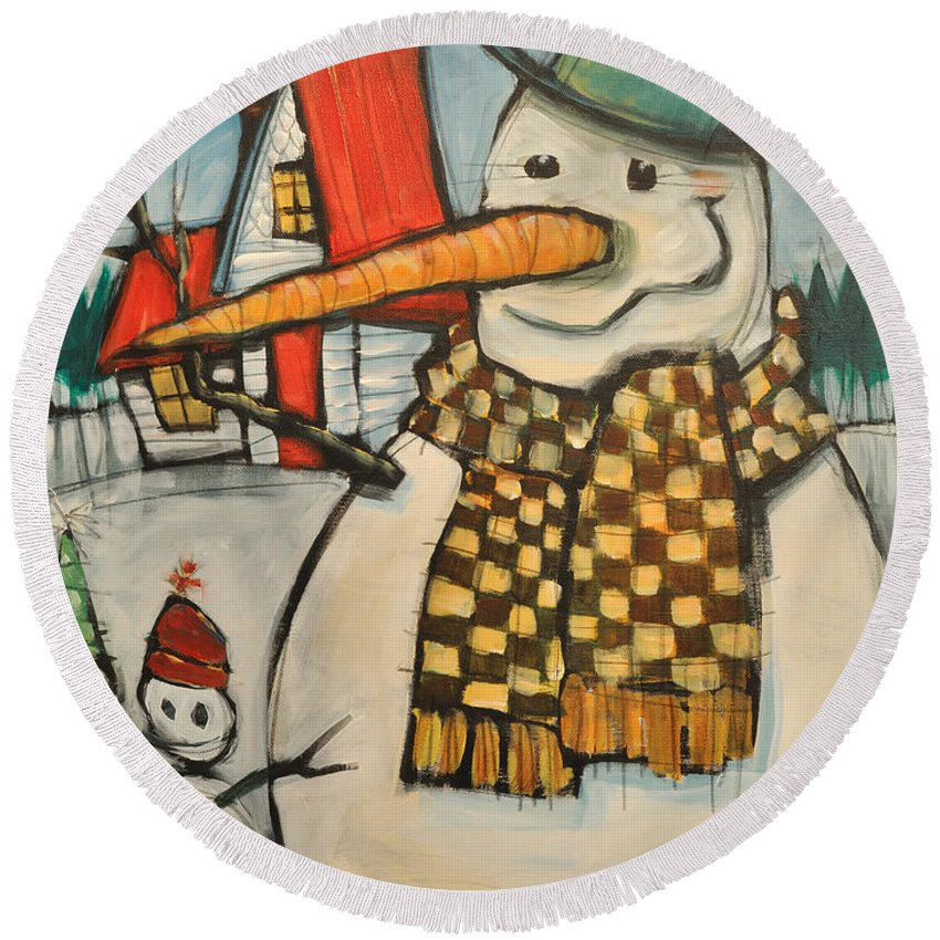 Snowman Round Beach Towel featuring the painting Frosty Family by Tim Nyberg