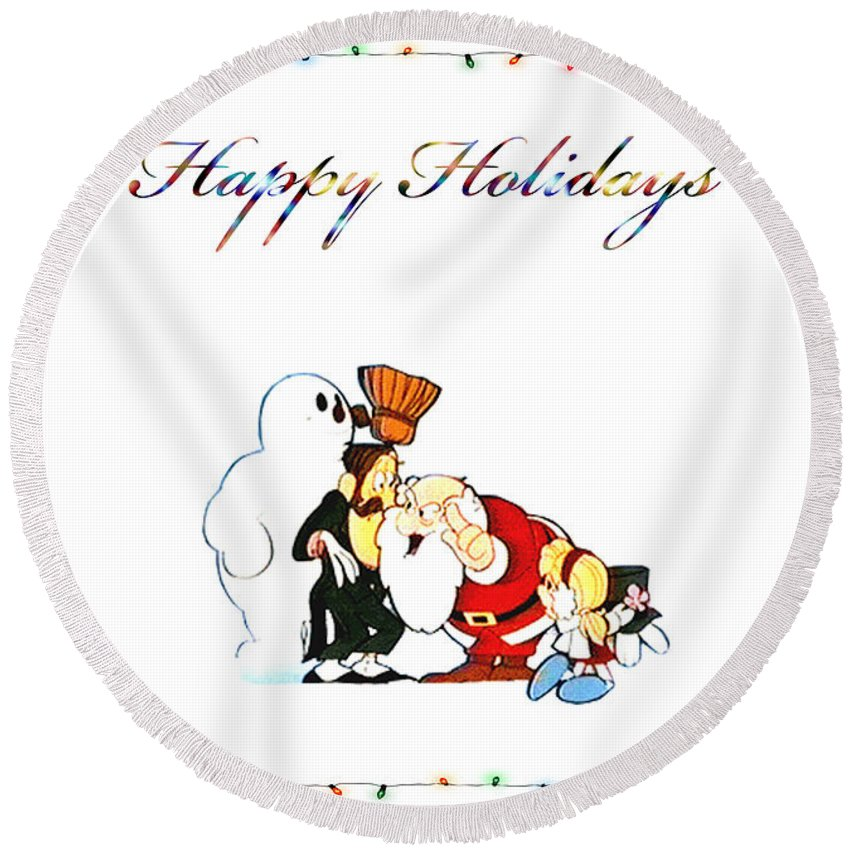 Classic Frosty Round Beach Towel featuring the digital art Frosty by Kristie Bonnewell