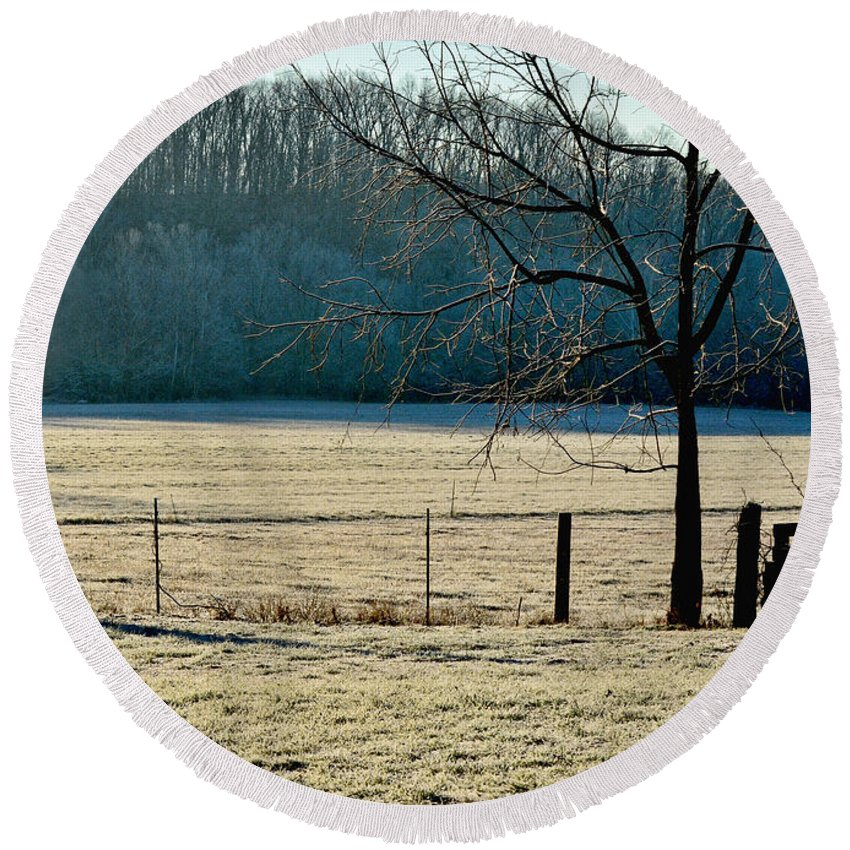 Nature Round Beach Towel featuring the photograph Frosty Morning Winter Landscape by Debbie Portwood