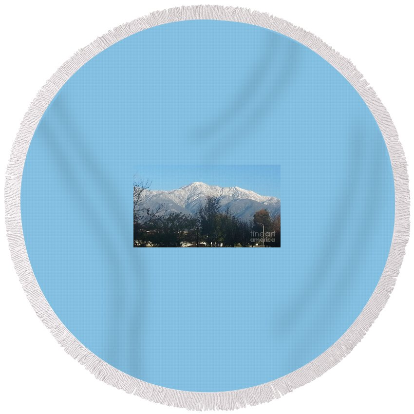 Frosty Mountain Top Round Beach Towel featuring the photograph Frosty Mountain Top View From Rancho Cucamonga Ca. by Sandra Harrison
