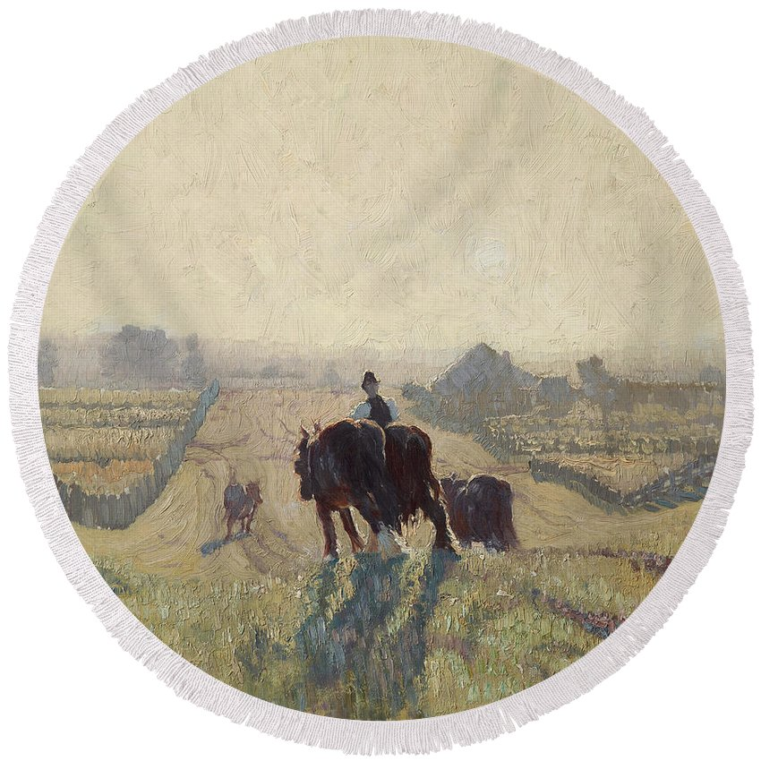 Elioth Gruner Round Beach Towel featuring the painting Frosty Sunrise by Elioth Gruner