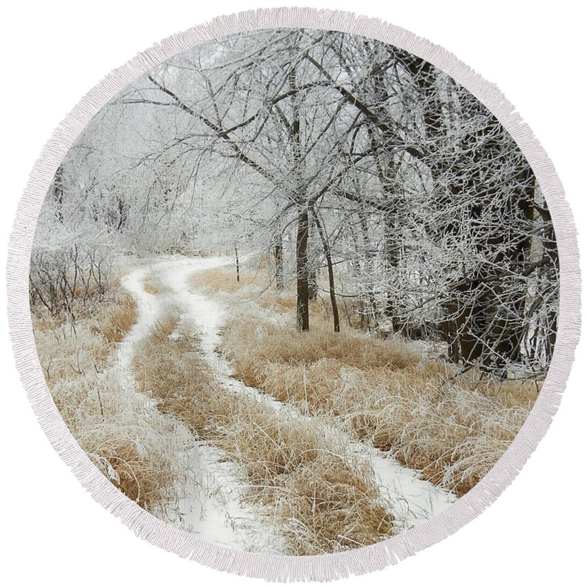 Trail Round Beach Towel featuring the photograph Frosty Trail 2 by Penny Meyers