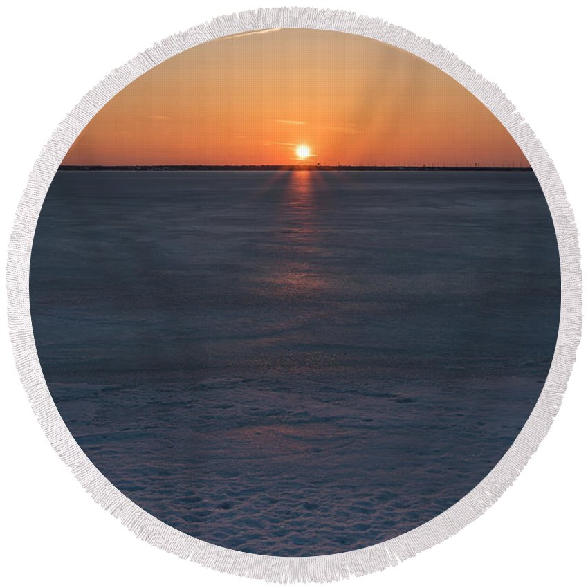 Terry Deluco Round Beach Towel featuring the photograph Frozen Bay Sunset Jersey Shore by Terry DeLuco