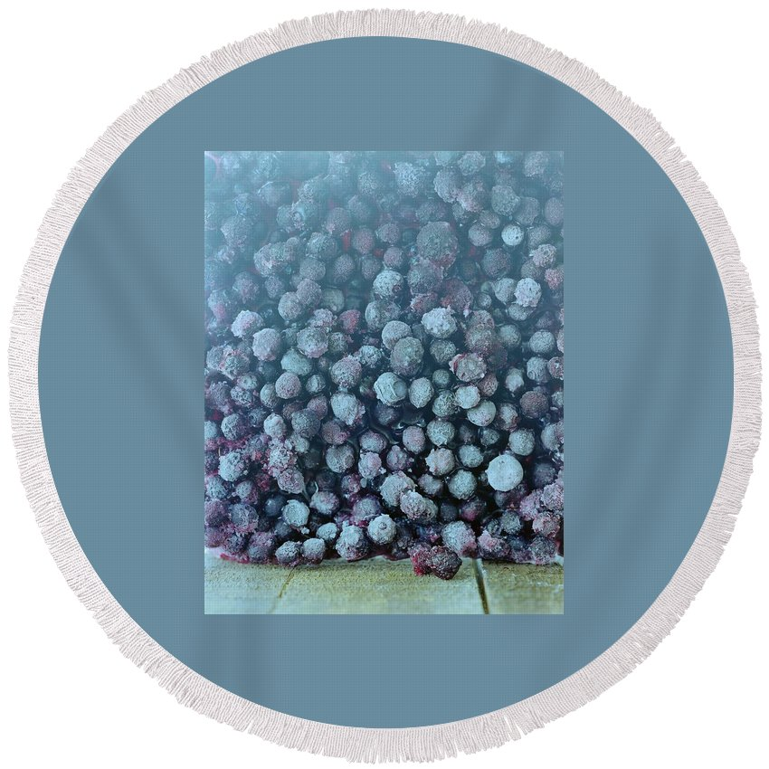 Berries Round Beach Towel featuring the photograph Frozen Blueberries by Romulo Yanes