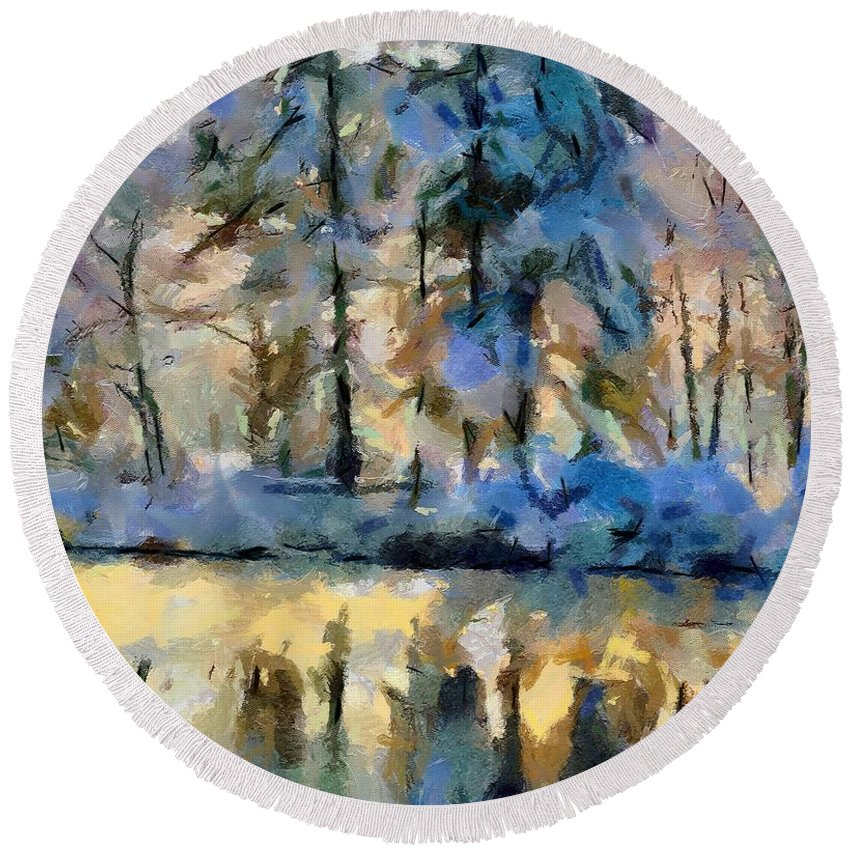 Season Round Beach Towel featuring the painting Frozen Lake by Dragica Micki Fortuna
