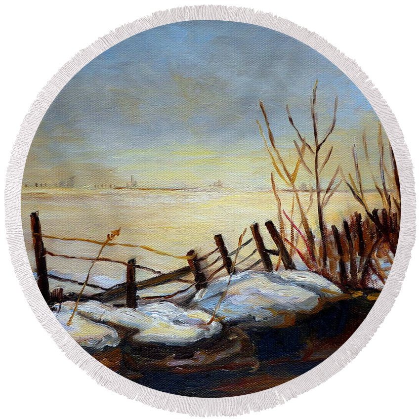 Frozen Lake Near Ste Adele Round Beach Towel featuring the painting Frozen Lake Near Ste. Adele by Carole Spandau