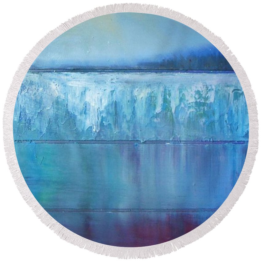 Abstract Round Beach Towel featuring the painting Frozen Lake by Vesna Antic