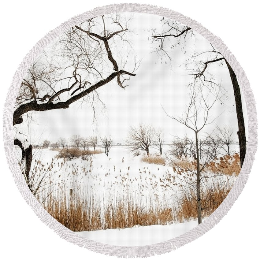 New Jersey Meadowlands Winter Round Beach Towel featuring the photograph Frozen Marshland IIi by Regina Geoghan