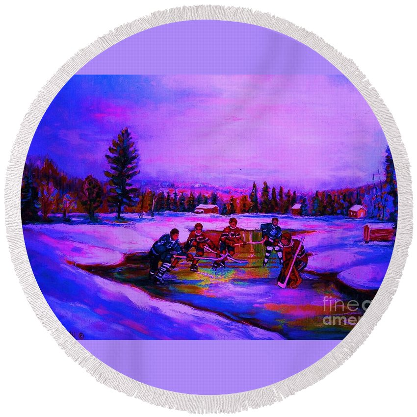 Hockey Round Beach Towel featuring the painting Frozen Pond by Carole Spandau