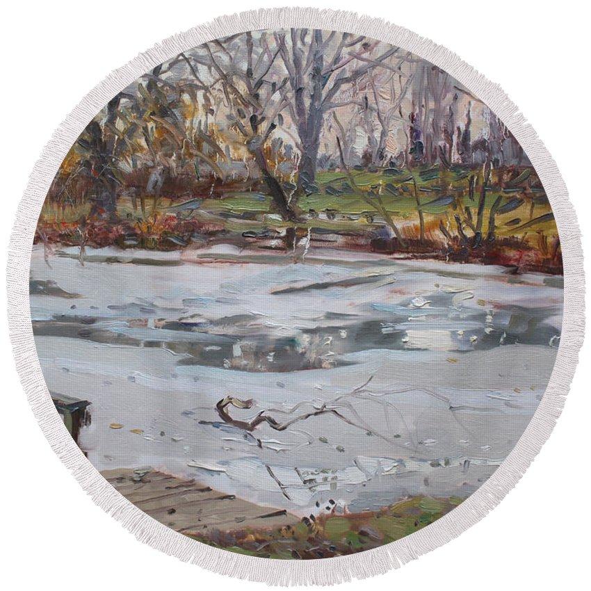 Frozen Pond Round Beach Towel featuring the painting Frozen Pond by Ylli Haruni