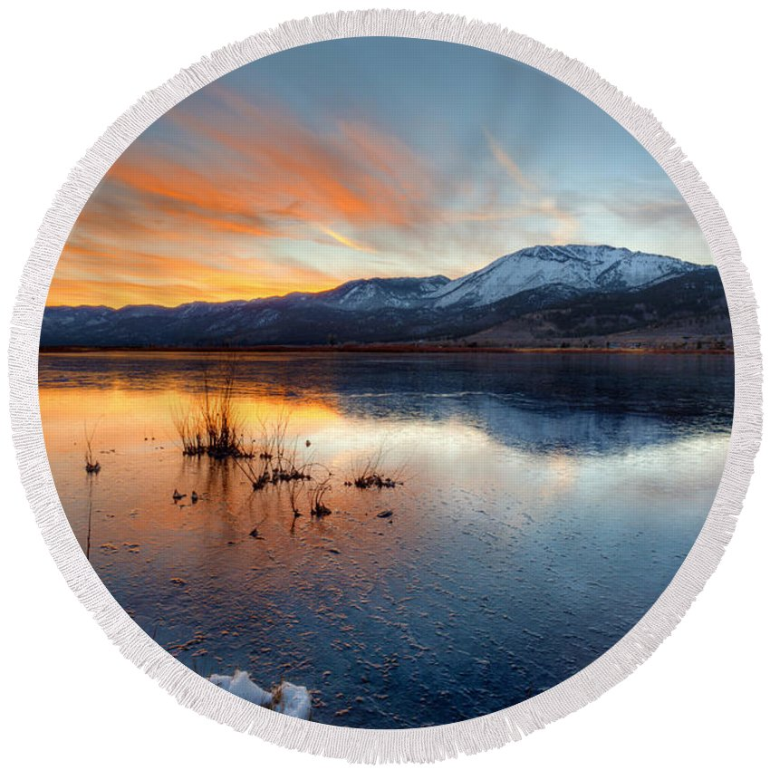 Lake Round Beach Towel featuring the photograph Frozen Reflections by Dianne Phelps