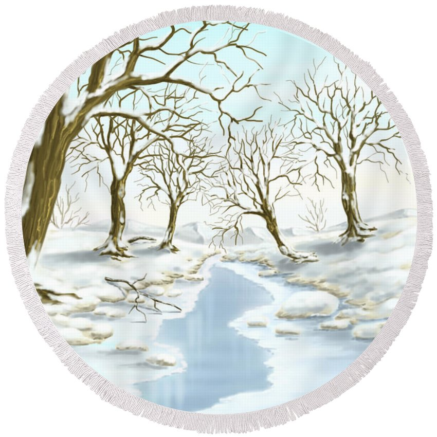 Ipad Round Beach Towel featuring the painting Frozen River by Veronica Minozzi