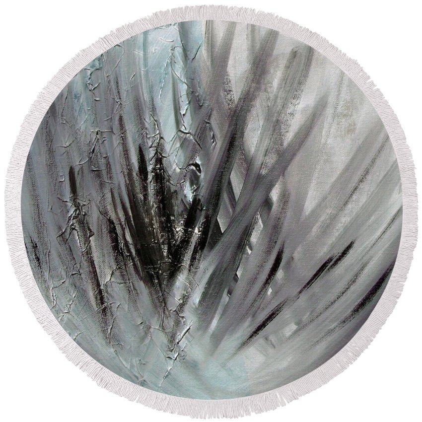 Abstract Round Beach Towel featuring the painting Frozen by Sergey Bezhinets