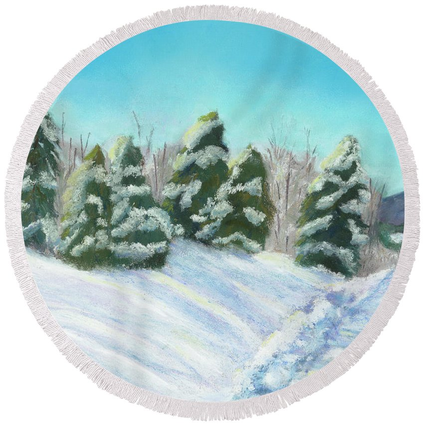 Snow Round Beach Towel featuring the painting Frozen Sunshine by Arlene Crafton