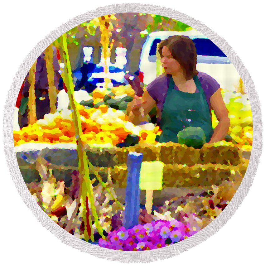 Markets Round Beach Towel featuring the painting Fruit And Vegetable Vendor Roadside Food Stall Bazaars Grocery Market Scenes Carole Spandau by Carole Spandau