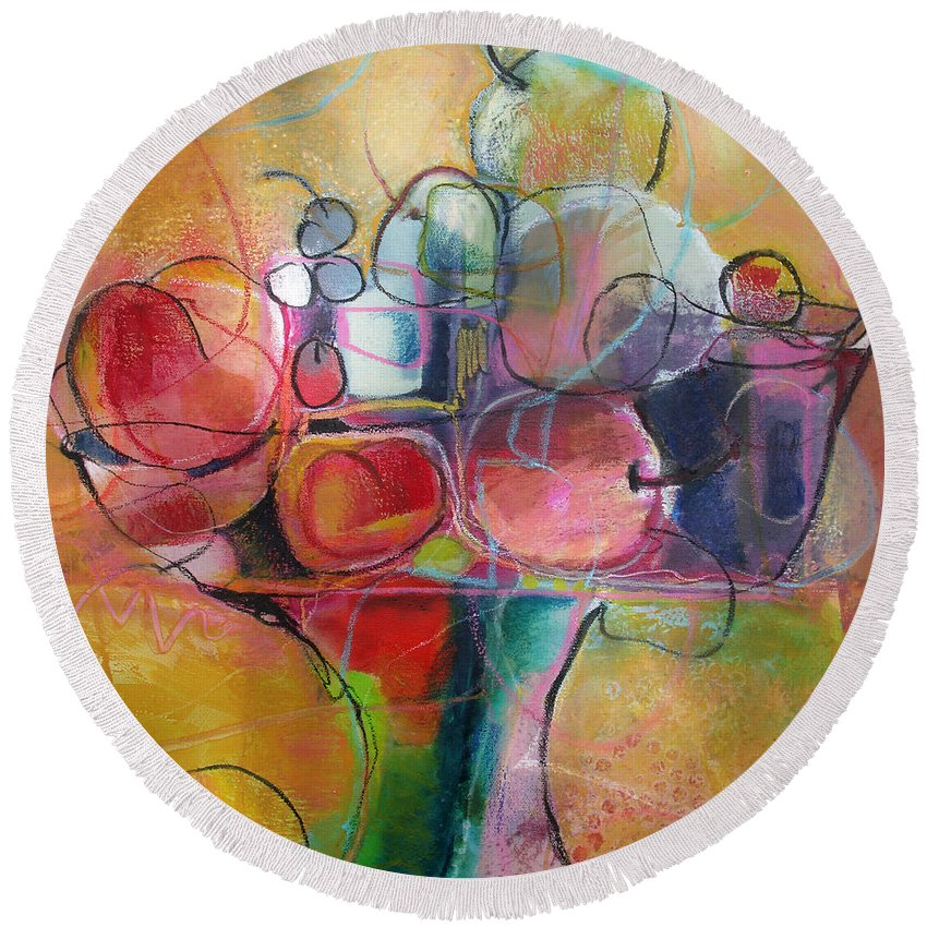 Watercolor Round Beach Towel featuring the painting Fruit Bowl No.1 by Michelle Abrams