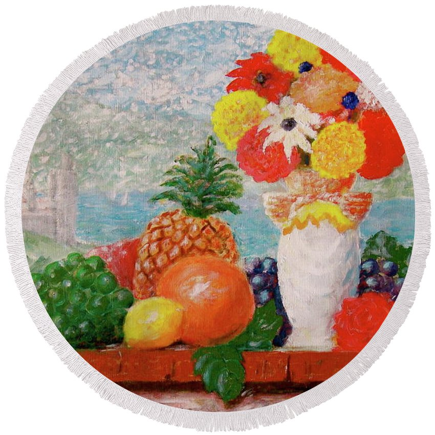 Grapes Orange Lemon Pineapple Flowers Castle Lake Round Beach Towel featuring the painting Fruit Flowers And Castle by Frank Hunter