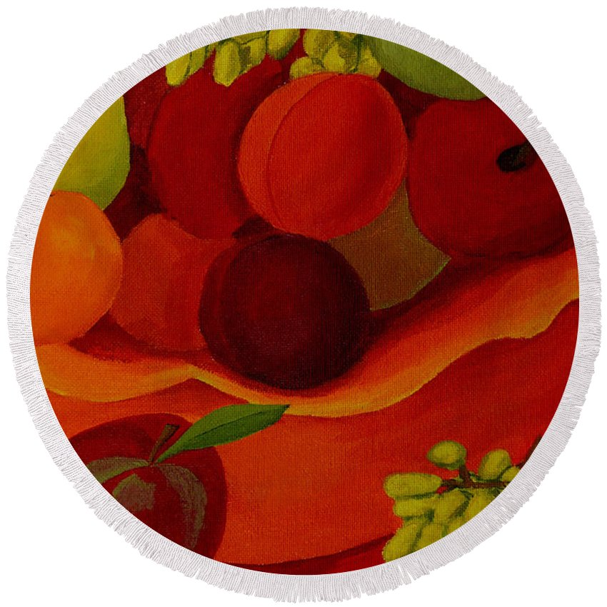 Fruit Round Beach Towel featuring the painting Fruit-still Life by Anthony Dunphy