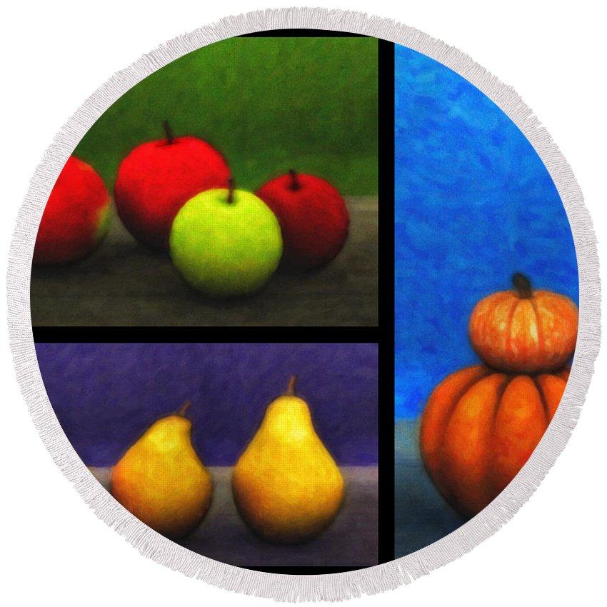 3d Round Beach Towel featuring the digital art Fruit Trilogy by Jutta Maria Pusl