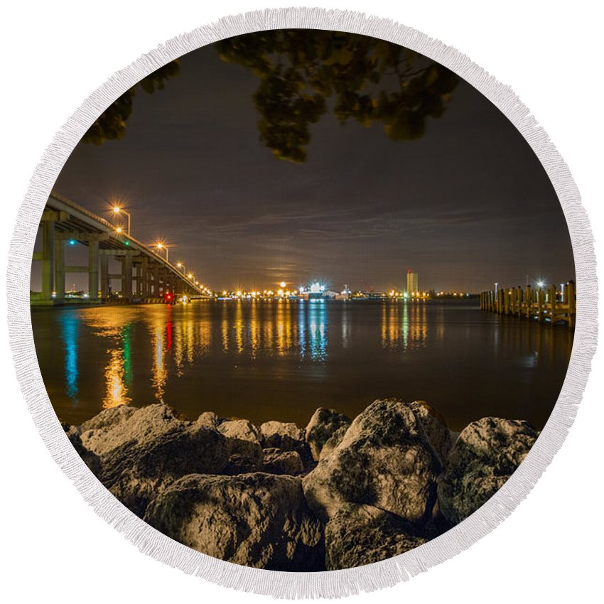 Ft. Pierce Florida.creations By Clyde Round Beach Towel featuring the photograph Ft. Pierce Bridge by Clyde Scent