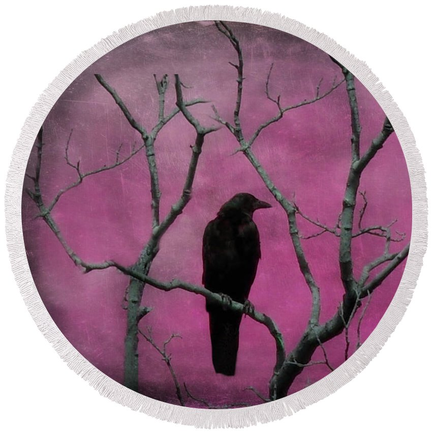 Bird Round Beach Towel featuring the digital art Fuchsia by Gothicrow Images