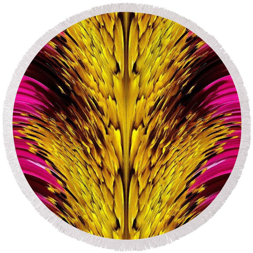 Sensation Round Beach Towel featuring the painting Fuchsia Sensation Abstract by J McCombie