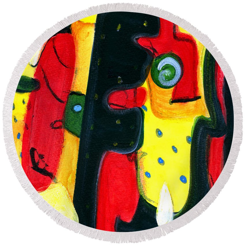 Abstract Art Round Beach Towel featuring the painting Fuego by Stephen Lucas