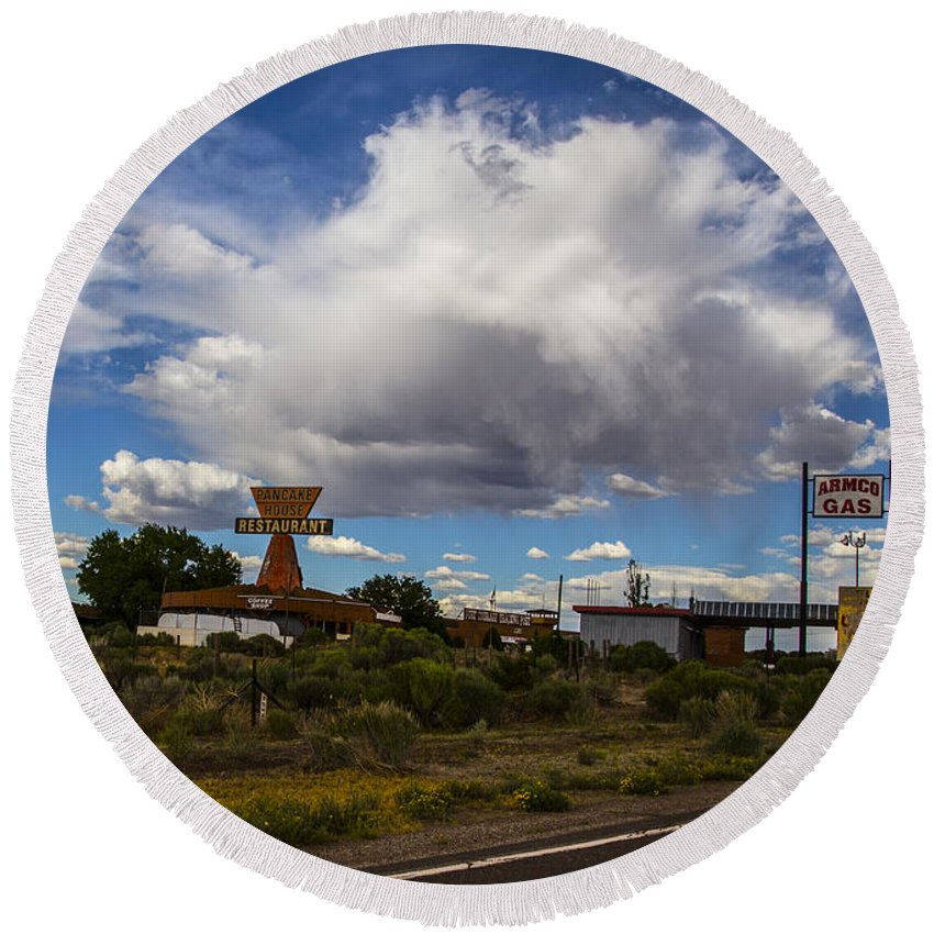 Route 66 Round Beach Towel featuring the photograph Fuel Up by Angus Hooper Iii