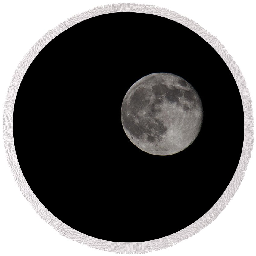 Full Round Beach Towel featuring the photograph Full Moon At Midnight by Diana Haronis